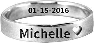 Ouslier Personalized 925 Sterling Silver Cut Out Heart Name Ring Jewelry Custom Made with Any Names