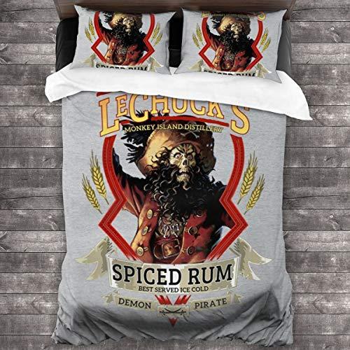 KUKHKU LeChucks Spiced Rum Monkey Island 3-teiliges Bettwäsche-Set Bettbezug 218 x 178 cm, Queen dekoratives 3-teiliges Bettwäsche-Set mit 2 Kissenbezügen