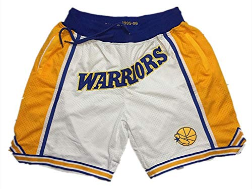 NNBBAA Pantalones Cortos de la NBA para Hombre Pantalones Cortos de Baloncesto Bordados Warriors Pantalones Cortos Deportivos portátiles de Secado rápido de Bolsillo S-XXL