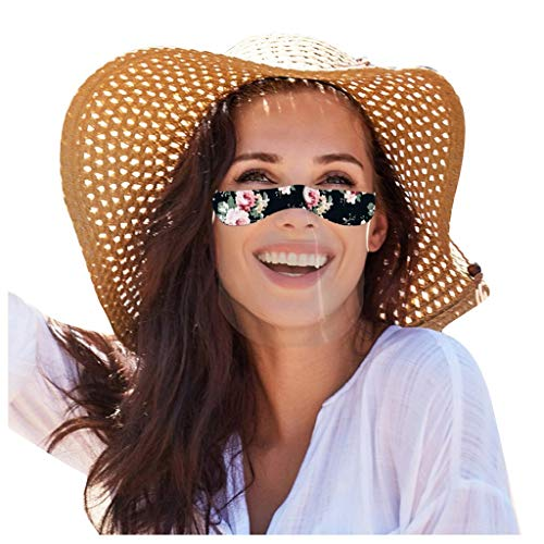 4 Stück Transparente Lippen Mundschutz mit klarem Fenster, Waschbar PVC Staub mundschutz Wiederverwendbare Plastik für Erwachsene Laufen, Radfahren (C)