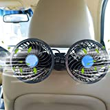 Car Fans, 12V Car Cooling Fan with 360° Rotatable Dual Head Stepless Speed Regulation Rear Seat Air Fan for Sedan SUV RV Boat
