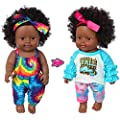 One-Piece 12 inch Realistic Black Baby Girl Doll Toy African-American Washable Silicone Baby Doll with 2-Sets Doll Clothes (Only One Doll) from iBayda