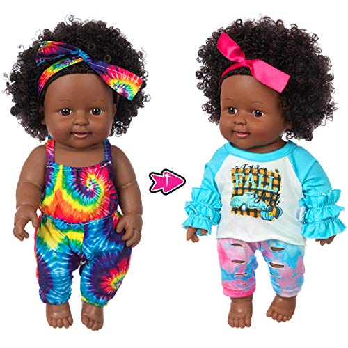 One-Piece 12 inch Realistic Black Baby Girl Doll Toy African-American Washable Silicone Baby Doll with 2-Sets Doll Clothes (Only One Doll)