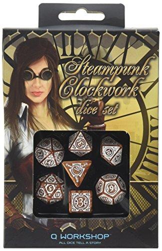 Q-Workshop QWOSTC72 - bordspel Steampunk Clockwork Dice Set, wit/Caramel