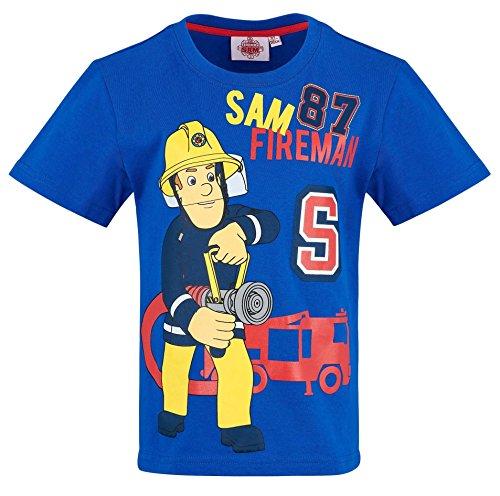 Feuerwehrmann Sam Kollektion 2018 T-Shirt 92 98 104 110 116 122 128 Shirt Fireman Sam Jungen Neu Top Feuerwehrauto Blau (Blau, 110/116)