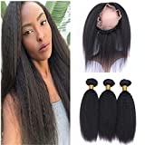 Tony Beauty Hair Mongolian Kinky Straight Human Hair Weaves With 360 Lace Frontal Pre Plucked Italian Coarse Yaki 360 Band Lace Closure With 3 Bundles Extensions 4Pcs Lot (20 with 20 20 20)