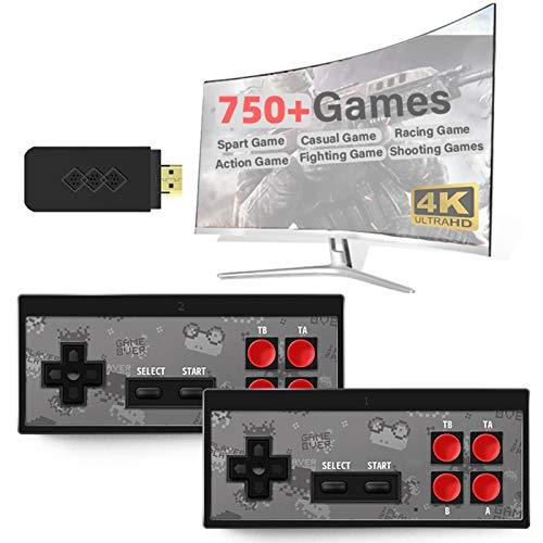 hooks Consola de Juegos Retro, Consola portátil de Videojuegos 4K HDMI Y2 HD, Videojuegos Plug and Play, Juegos clásicos incorporados 750, Mini Consola Retro Controlador de Gamepad portátil USB