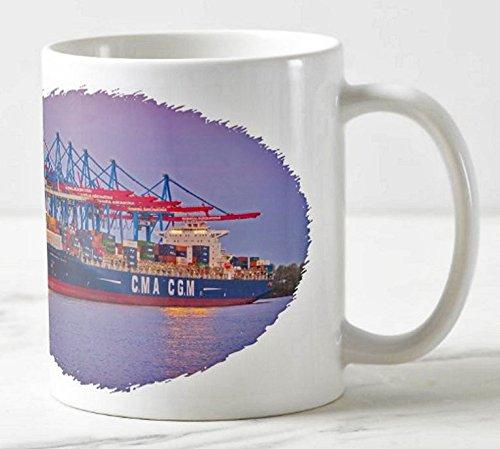 Hamburger Hafen Becher - Motiv: Containerschiff im Hafen Hamburg - Foto-Tassen/Fotos / Bilder/Souvenirs