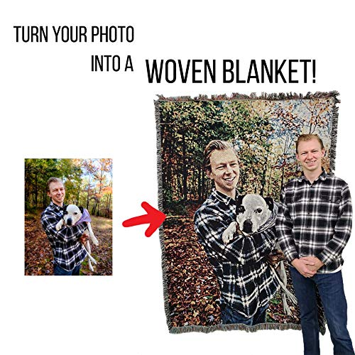 Pure Country Weavers Personalized Photo Blanket Throw Woven from Cotton - Made in The USA (72x54)