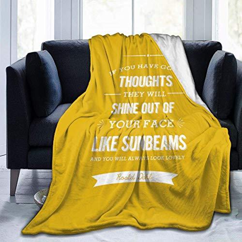 ujmki Roald Dahl If You Have Good Thoughts - Manta de franela cálida de 150 x 100 cm, forro polar para todas las estaciones, peso ligero, sala de estar, dormitorio para niños, padres y abuelos