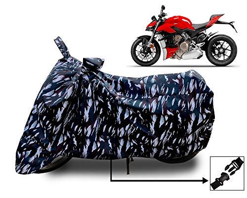 Horseyaart Ducati Streetfighter V4 Bike Cover Waterproof & Dustproof , UV Protection Full Bike Scooty Two Wheeler Body Cover Universal Size (Black Military)