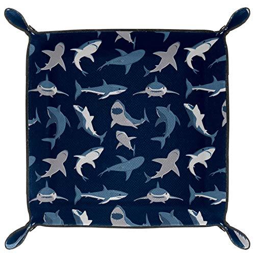 laire Daniel Bandeja plegable de piel sintética para guardar relojes, joyas, diseño de tiburón océano azul