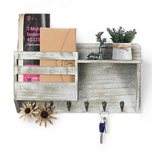 Mail Holder for Wall Mount Mail Sorter Key Hanger with 6 Sturdy Hooks Letter Bills Magazine Organizers Home Decorative for Farmhouse Entryroom Mudroom Hallway Kitchen Office Garage, Rustic Green