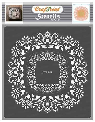 CrafTreat Lace Pattern Stencil for Painting on Wood Reusable - Doily Lace II - 12x12 Inches - Doily Stencils for Painting on Wood Lace - Deco Art Doilie Stencil for Furniture Painting
