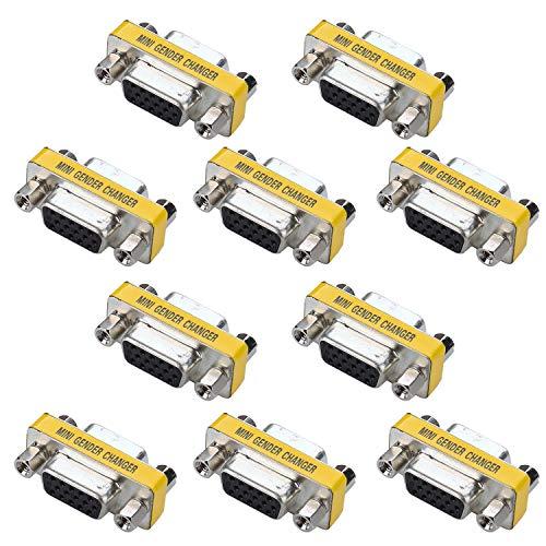 VGA Mini Gender Changer - iGreely 10 Packs 15 Pin VGA SVGA Female to Female Coupler Adapter