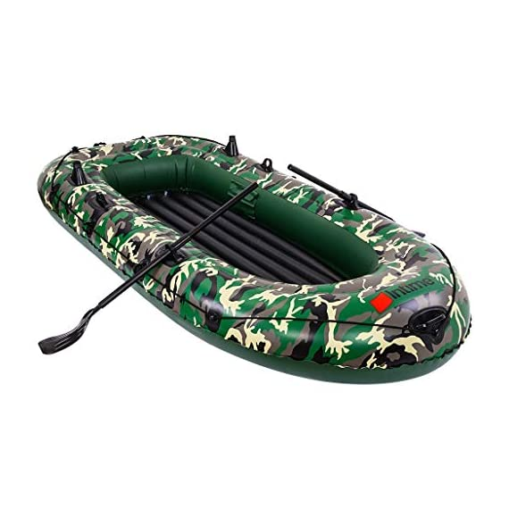intent_Side 10ft Inflatable Boat Series Explorer Touring Kayak Canoe Boat Set 4-Person PVC Inflatable Rafting Fishing Dinghy Tender Pontoon Boat with Paddles and Air Pump for Water Sports Fun 8 ➤【Qualified Material】: Our inflatable boat is made of durable 3x Layer PVC material which is saline-alkali and sunshine resistance, anti-aging and corrosion resistance, with a soft inflatable floor that is not easily scratched by sharps and provides long-term water entertainment. ➤【No Leak】: Our inflatable boats are Designed with 3 independent air tubes, made from the highest quality 1100D PVC fabric available to ensure your safety. Thermal bonding seams provide first-class air retention and fine manufacturing processes to ensure no leaks which is the mix of security and practicality. ➤【Have Fun on Water】: This is a dinghy that can be rowed, sailed and motored. Take a breath, put this portable dinghy in the truck of your car, take your family or friends, have a pleasant drifting on the lake or a exciting surfing on the sea.