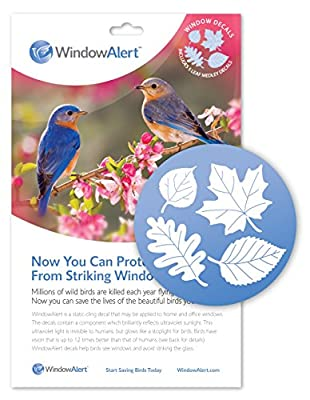 WindowAlert Leaf Medley Anti-Collision Decal - UV-Reflective Window Decal to Protect Wild Birds from Glass Collisions