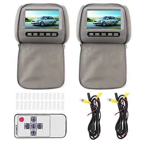 KIMISS Monitor per poggiatesta per auto, 2 pezzi 7 in HD Poggiatesta per auto Lettore video LCD con chiusura a cerniera Telecomando Display MP5 grigio