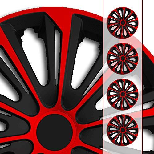 (Größe und Farbe wählbar!) 15 Zoll Radkappen / Radzierblenden STR-Bandel BICOLOR ROT (Farbe Schwarz-Rot), passend für fast alle Fahrzeugtypen (universell) – nur beim Radkappen König