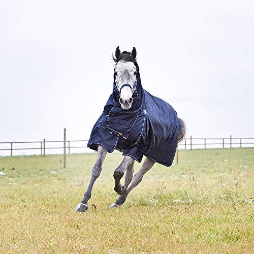 horze Avalanche Combo Winterdecke für Pferde, schwer, 1200D, 350g Füllung, Blau, 145