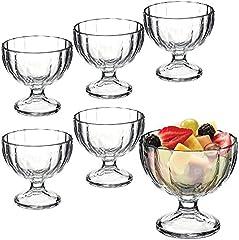 Juego de 6cuencos de vidrio, para aperitivos y postre de helado, vidrio, Alaska Ribbed Design