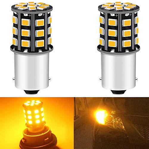 ALOPEE Paquete de 2 1156 BA15S 1141 1073 7506 1003 Bombillas de señal de giro de coche - Bombilla LED de 12 V-24 V / bombilla 2835 33SMD - Reemplazo para bombilla LED de señal de giro trasera