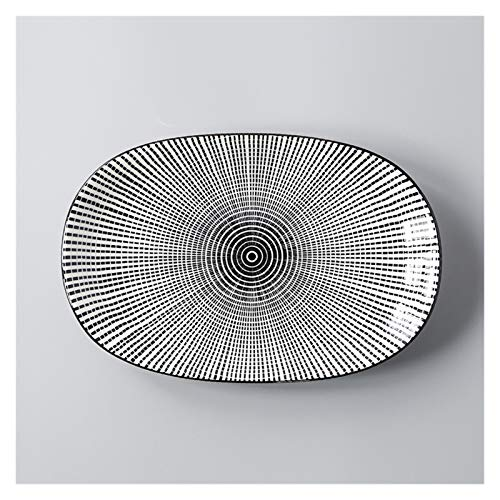 kerryshop Dinner Plate Japanese Ceramic Fish Plate Tableware Rectangular Large Home Deep Dish Creative Salad Plate and Steamed Fish Plate Plate (Color : G)