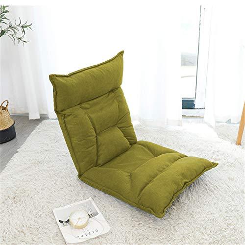 Asiento De Piso Ajustable de 42 bits de espuma de memoria silla suelo almohadilla de la silla del juego cómodo colchón de esponja Muebles De Sala De Estar ( Color : Verde , Size : 55X52X60CM )