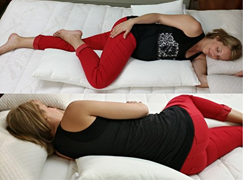 Schmoozi Pregnancy Pillow Innovative Back Support and Total Body Comfort - Best for Maternity, Side Sleeping and Low Back Pain Sufferers Alike - Helps Prevent Snoring and Acid Reflux Heartburn