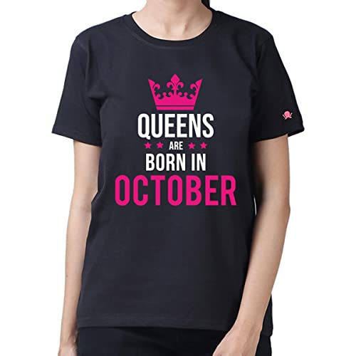 PrintOctopus Graphic Printed T-Shirt for Women | Queens are Born in December T-Shirt | Birthday T-Shirt | Queen T-Shirt | Half Sleeve T-Shirt | Round Neck T Shirt | 100% Cotton T-Shirt | Short Sleeve T shirt