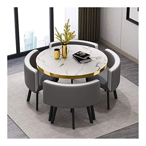 N/Z Daily Equipment 5 Piece Modern Round Vintage Home Table Chair Combination Simple Reception Leisure Leather Coffee Sofa Seat Office Lounge Table and Chair Set