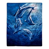 """Lavish Home Sherpa Fleece Throw Ocean Dolphin Print Pattern, Lightweight Hypoallergenic Bed Couch Soft Plush Blanket for Adults and Kids, 60"""" (L) x 50"""" (W), Multicolor"""
