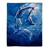 Lavish Home 64-Dolphins Sherpa Fleece Blanket, Ocean Print