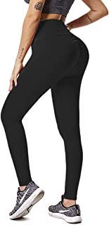 DCCDU Women's High Waist Textured Yoga Pants Tummy Control Ruched Butt Lifting Stretchy Workout Leggings Booty Scrunch Tights