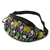 Fanny Packs For Women Men Tropical Plants Flower Floral Skull Waist Pack Bag Fashion Travel Phone Fanny Pack For Walking Workout Sports Fishing Adult Kids Runners Outdoor Hiking