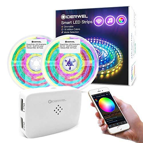 GIDERWEL Kit de tiras LED Smart, 10 m, WiFi inteligentes, funciona con Alexa/Google Assistant, banda de luz Dreamcolor con controlador LED WiFi y sincronización con música.