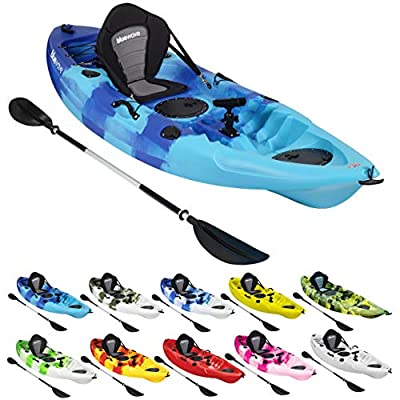 Bluewave Crest Solo Fishing Kayak   Single Sit On Top Kayak With 5 Rod Holders, 2 Storage Hatches, Padded Seat & Paddle from Bluewave