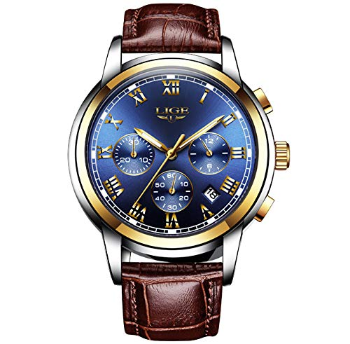 LIGE Mannen Horloges Mode Sport Waterdichte Analoog Quartz Chronograaf RVS Wijzerplaat Bruin Lederen Armband Polshorloges