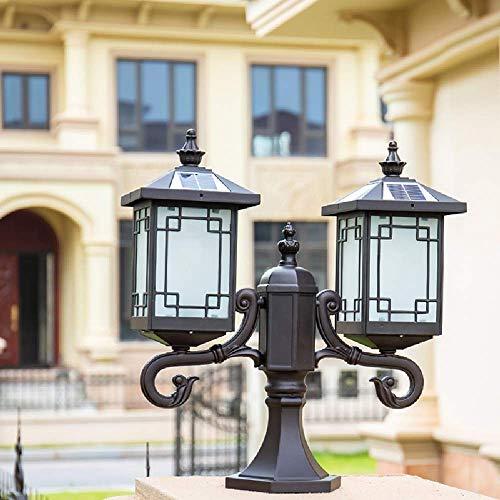 HXCD Garden Lamp IP55 Waterproof Outside LED Solar Post Pillar Light Aluminum External Parks Courtyards Villa Gazebo Yard Fence Column Landscape Lighting Fixture
