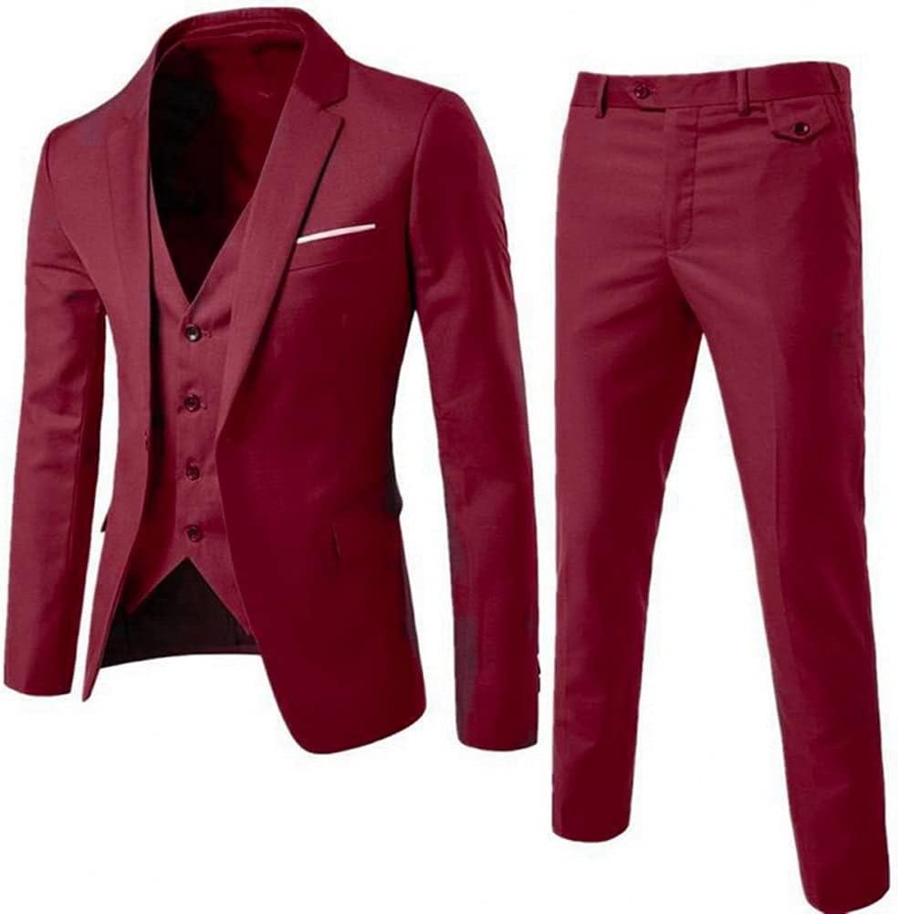 ZZABC Men's Slim Suits Business Clothing Three-Piece Suit Blazers Jacket Pants Trousers Vest Sets (Color : Red, Size : XXXL Code)