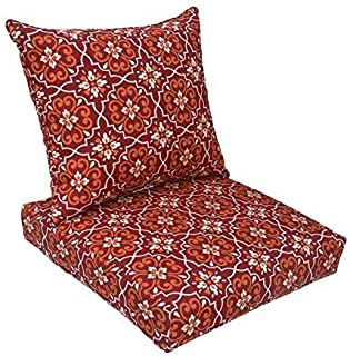 BOSSIMA Indoor/Outdoor Red Damask Deep Seat Chair Cushion Set.Spring/Summer Seasonal Replacement Cushions