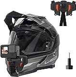 TELESIN - Soporte para cámara con montaje frontal para casco de moto con mentón curvado, para GoPro Hero, Osmo Action, Insta 360, silicona antideslizante, fácil de instalar (segunda generación)