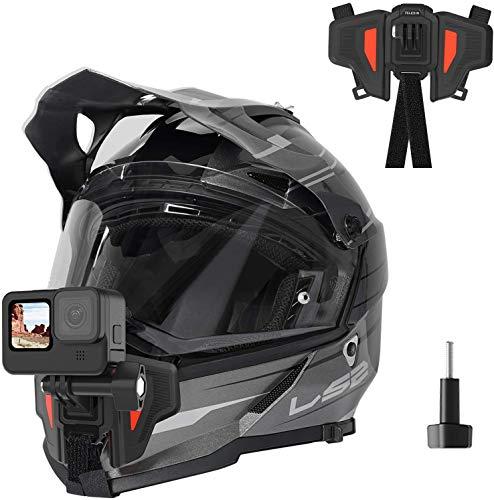 TELESIN - Supporto per videocamera con montaggio anteriore per casco da moto con mento curvo, per GoPro Hero , Osmo Action, Insta 360 ,Silicone antiscivolo, facile da installare (Seconda generazione)