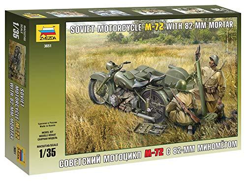 Zvezda 500783651 - 1:35 WWII Russisches Motorrad M-72 mit Mörser