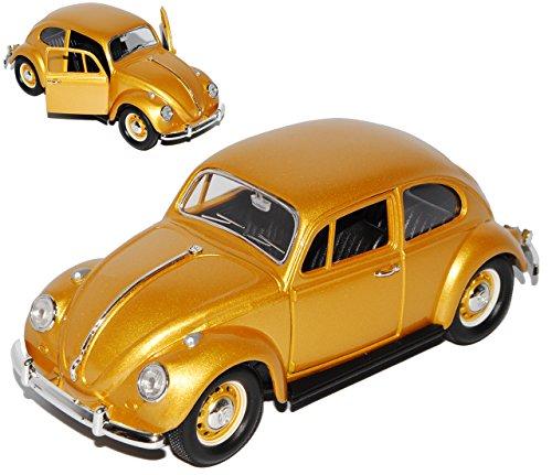 Lucky Die Cast Volkwagen Käfer Coupe Gold mit goldenen Radkappen 1967 1/24 Yatming Modell Auto mit individiuellem Wunschkennzeichen