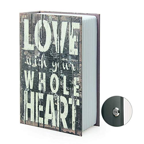 Caja de almacenamiento para libro de secuestro, caja fuerte secreto para diccionario con cerradura/llave de combinación de seguridad, caja fuerte oculta para libro de desviación (llave, amor)