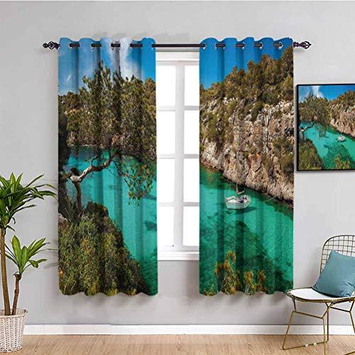 Decoración de dormitorio de la naturaleza cortinas opacas pequeñas yates flotantes en el mar Mallorca España Rocky Hills Forest Trees Scenic View Cafe cortina verde aguamarina azul W72 x L72 pulgadas