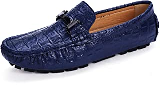 XinQuan Wang Men's Driving Loafers Moccasin Slip on Oxfords Faux Crocodile Microfiber Leather Easy on & Off Boat Shoes (Color : Blue, Size : 7.5 UK)