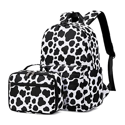 Ecodudo Cow Print Girls Backpack Set for Teens Backpacks School Bookbags with Lunch Bag (Cow Print)