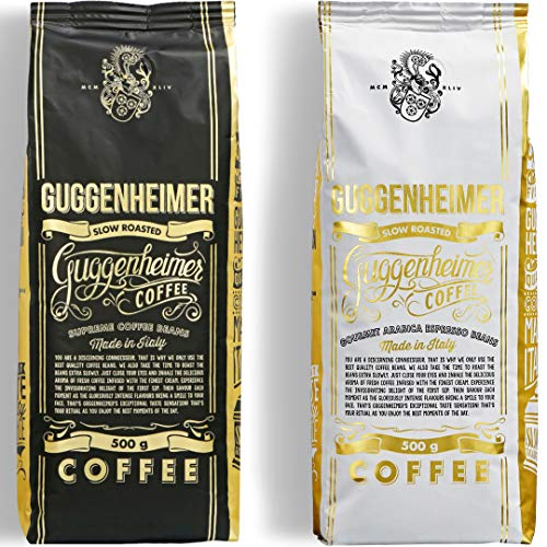 NEU | GUGGENHEIMER COFFEE | Kaffeebohnen Probierpaket 1 kg | Supreme 500g & Gourmet Arabica 500g | wenig Säure & Bitterstoffe | Feinste Crema | Bester Espresso für Vollautomaten | Kaffee Probierset